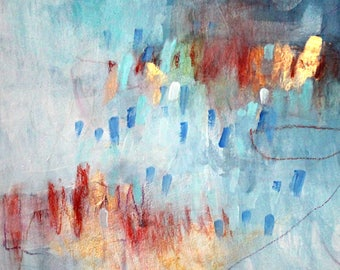 """Small Intuitive Abstract Expressionist Painting on Paper, Mixed Media, Original Art """"Love by the Spoonful"""" 12x12"""""""