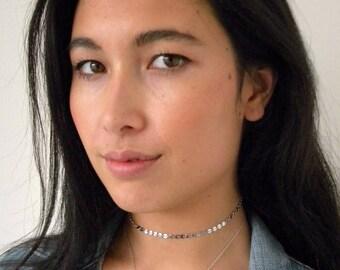 Silver coin choker necklace