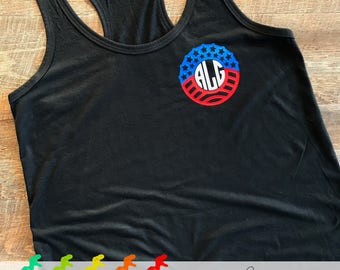 Patriotic Monogram Racerback Tank Top or T-shirt - Adult Sizing