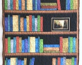 Bookshelf Lap Quilt, 35 x 40 inch, Perfect Gift for Book lovers, Book case, Shelves Quilt