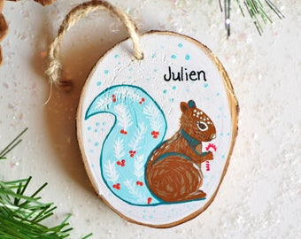 personalized christmas ornament. squirrel ornament. baby boy christmas ornament. baby ornament, custom gift for kid. hand painted ornament.