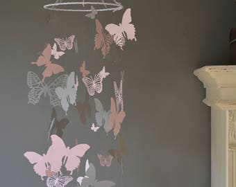 Butterfly nursery mobile / baby mobile made with soft pink and grey butterflies -- Butterfly babyshower, nursery art, nursery decor