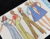 Vintage 1970s Overalls, Dress Sewing Pattern, Simplicity 7006, Sz 6 & 8