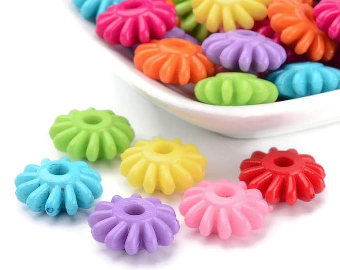 17mm mixed color flower beads - 17mm Acrylic Bead - 17mm Flower beads - 17mm flower spacers - Flower spacer (1767) - Flat rate shipping