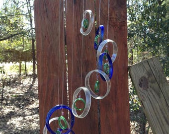 clear, blue, green, GLASS WINDCHIMES-RECYCLED bottles, eco friendly,  garden decor, wind chimes, mobiles, windchimes, soothing music