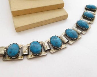 Vintage Southwestern Simulated Turquoise Silver Tone Floral Scroll Bracelet O10