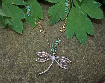 Dragonfly necklace, dragonfly jewelry, dragonfly charm,