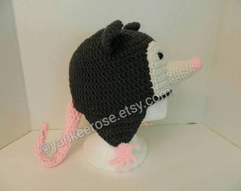 Opossum Hat with Ear Flaps - Possum Hat Adult- Children's Sizes