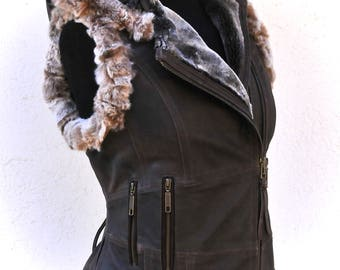 Leather steampunk vest, leather biker vest, leather festival  jacket sheepskin waistcoat