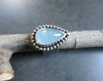 Aquamarine Ring, Statement Ring, Handmade Ring, Blue Ring, Size 8 8.25  Ring