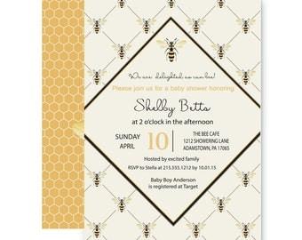 Delightful Bee Baby Shower Invitation Neutral - Mod - Black & Gold - Bridal - Birthday - Printable or Printed Set