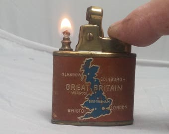 1950sTIKI Fully Automatic Cigarette Lighter from Austria - Map of Great Britain on leather wrap - Brass finish - Original TIKI Box included