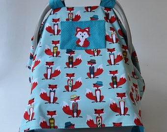 Baby Boy Car Seat Canopy Blue Gray Red Fox Baby Shower Newborn Car Seat Cover Infant Car Seat Cover Baby Gift Baby Boy