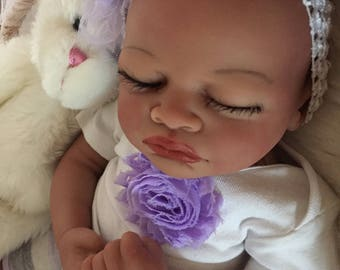 Completed Bi Racial Serena Completed Reborn Baby Doll from the Aisha 20 inch kit