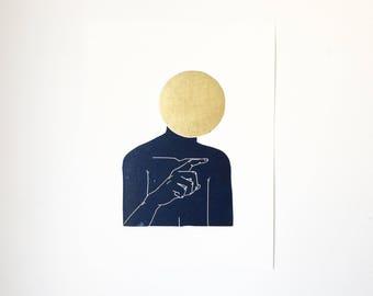 You w/ Gold  //  Lino Print - Block Print - Modern Art - Linocut - Printmaking