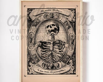 A Skeleton by Alexander Mayfair circa 1605 Macabre Anatomy Print on an Unframed Upcycled Bookpage