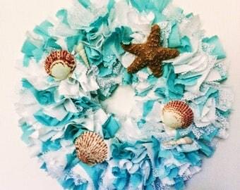 Seashell Wall Decor, Seashell Wall Art, Seashell Wreath, Wreath with Seashells, Teal Beach Decor Coastal Wall Decor, Wreath with Shells