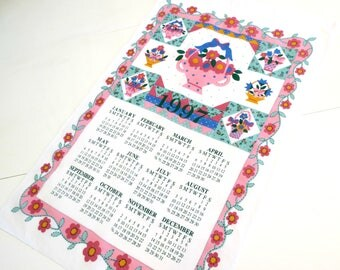 1997 Cotton Calendar Towel by B & D, Calendar Wall Hanging,  Kitchen Dish or Tea Towel, Pink Blue Green and Yellow Floral,  Vintage Linens