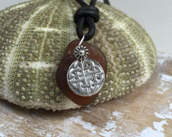 Maine brown sea glass with Celtic symbol leather necklace, leather adjustable Atlantic sea glass necklace, brown sea glass, Maine seaglass