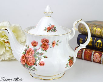 Royal Albert Centennial Rose Full Sized Teapot with Pattern on Spout, Replacement China, Wedding Gift, ca. 1967