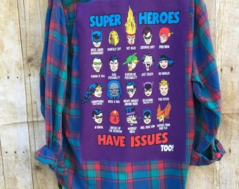 Upcycled Flannel Shirt, Men's Medium, Super Heroes With Issues Fun Flannel, Lightweight Flannel Shirt with Recycled T Shirt Back Art