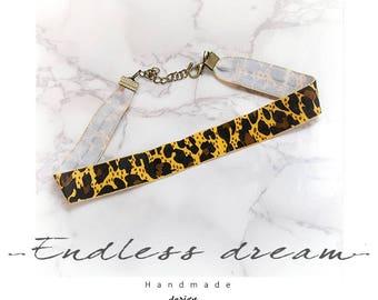 Leopard Choker Necklace,animal print lover ,fashion Jewelry Handmade , Gothic goth Lolita steampunk Kawaii