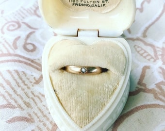 SALE Victorian 10k Gold Genuine Seed Pearl Gypsy Ring / Pinky Ring / Size 2.75
