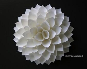 white paper dahlia || 10'' dahlia wall decor | wedding flower || nursery wall decor || bridal shower backdrop || flower wreath -white