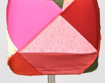 Mini Skirt - Patchwork skirt - Reversible skirt - Colorful skirt- Red and multicolored skirt - Made in Quebec - Ethical Fashion