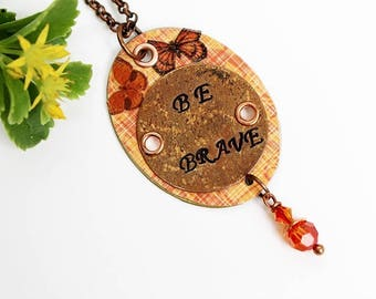 Brave Necklace, Mixed Media Necklace, Mixed Media Jewelry, Orange Necklace, Pendant Necklace, Stamped Necklace, Bohemian, Long Necklace