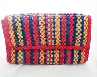 Clutch- Magid Colorful Wicker Straw summer lightweight handheld purse