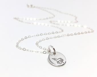 Tiny Unicorn Necklace // Sterling Silver