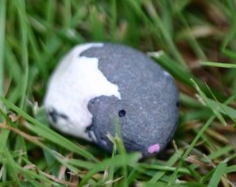 guinea pig rock, painted, pebble, stone, found item, animal, tiny, pocket totem, white and grey, lava rock, Iceland, natural, tiny rock