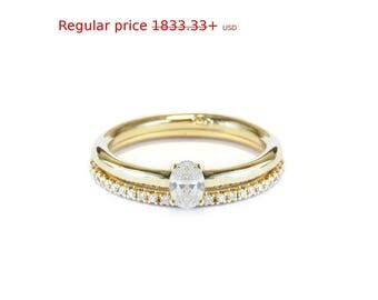 Summer Sale! 0.25ct Oval Shape Diamond  Engagement Ring with matching diamond band, diamond and gold wedding ring set HANDMADE - Silly Shiny