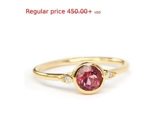 Summer Sale! Simple Solitaire Engagement Ring, 0.5 Carat Pink Tourmaline Kiss Plus Ring, Unique Tourmaline Ring, Delicate Thin Ring, Gold Ri