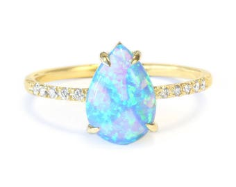 Pear Shaped Opal Diamond Engagement Ring, 14K Rose, Halo Ring, Unique Engagement Ring, Delicate Ring