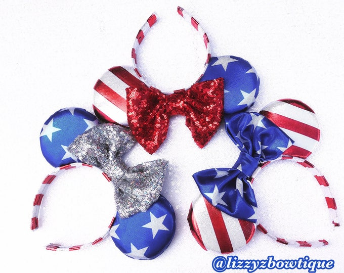Patriotic USA Flag Minnie ears