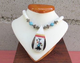 Heishi Necklace Warrior Inlay Pendant Vintage Southwest Necklace Blue Turquoise Beaded Indian Necklace Southwestern Jewelry