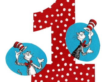 DIY Cat in the Hat applique and pick any number iron on applique - birthday number