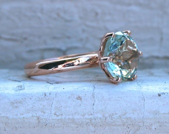 Large Green Amethyst Solitaire in 14K Rose Gold - 4.35ctw