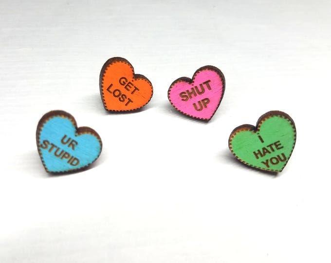 Mean Hearts Earrings | Laser Cut Jewelry | Hypoallergenic Studs | Wood Jewelry