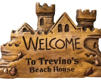 Beach House Personalized Sand Castle Sign
