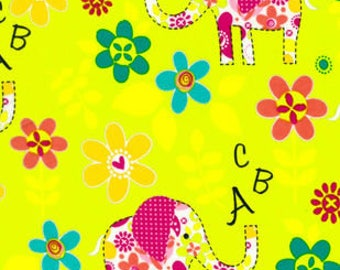 Snuggle Flannel Prints - ABC Elephants - 21 inches