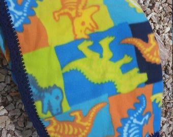 Dinosaurs Crocheted Fleece Blanket