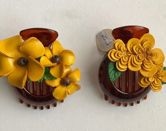 All YELLOWS Medium Leather Flower Hair Comb Barrette Clip little bond holder