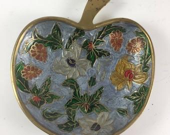 Brass Floral Cloisonne Apple Dish