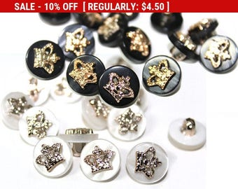 35 Sewing Gold Crown Buttons For Fashion Crafts and Accessories