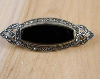 Vintage Sterling Silver, Marcasite and Black Onyx Brooch / Vintage 1960s Victorian Style Pin / Ornate Black Stone Brooch