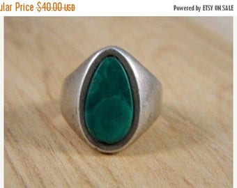 ETSYCIJ Large Tear Drop Malachite and Sterling Silver Ring / Vintage Sterling Silver Mod Southwestern Mexican Ring Size 8