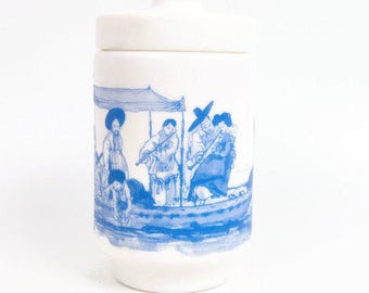 Vintage Milk Glass Apothecary Jar Blue and White Made in Belgium Oriental Boat Scene Toile Design Canister with Lid